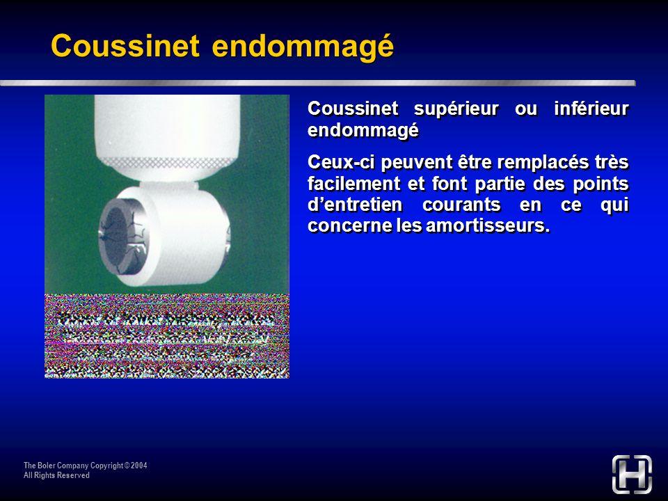Coussinet endommagé Coussinet supérieur ou inférieur endommagé