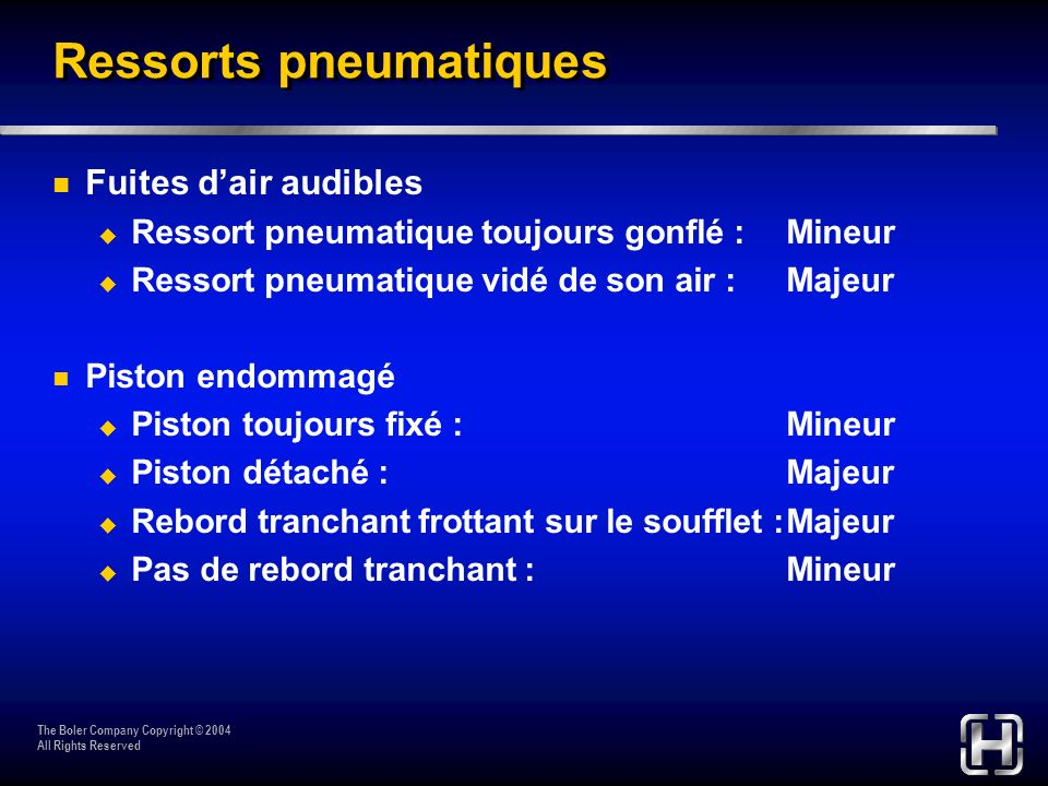 Ressorts pneumatiques