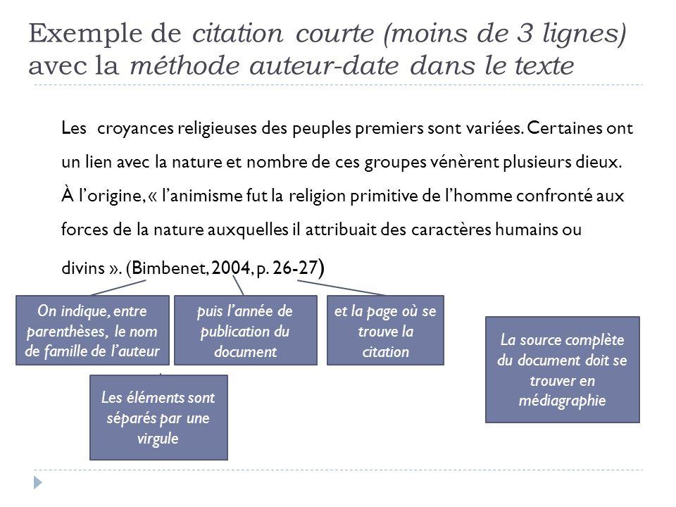 Exemple de citation courte (moins de 3 lignes) avec la méthode auteur-date dans le texte