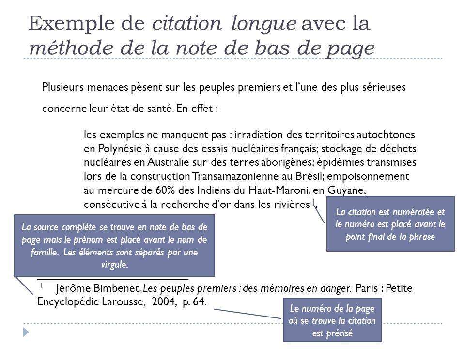 Exemple de citation longue avec la méthode de la note de bas de page