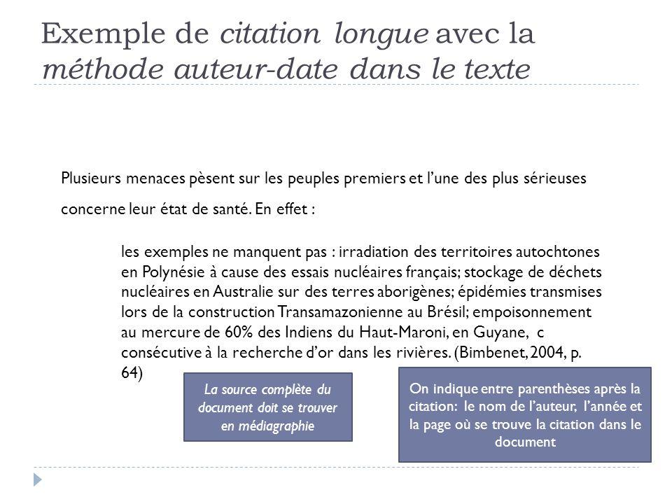 Exemple de citation longue avec la méthode auteur-date dans le texte