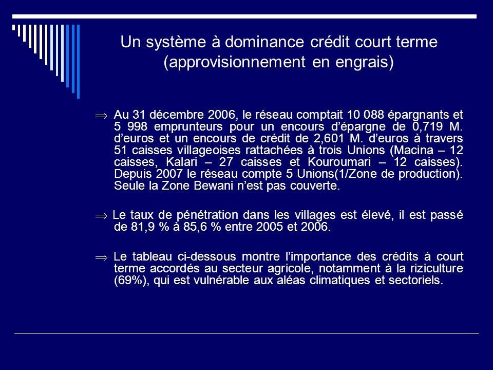 Un système à dominance crédit court terme (approvisionnement en engrais)