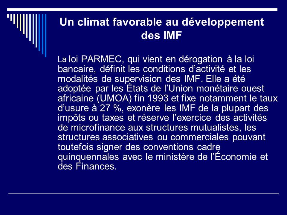 Un climat favorable au développement des IMF