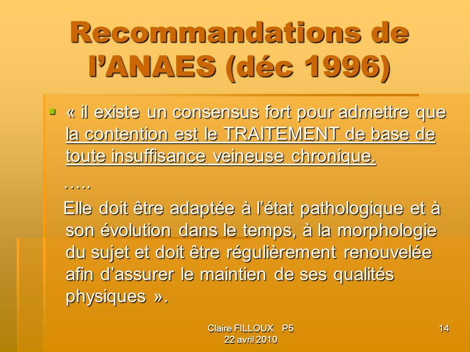 Recommandations de l'ANAES (déc 1996)