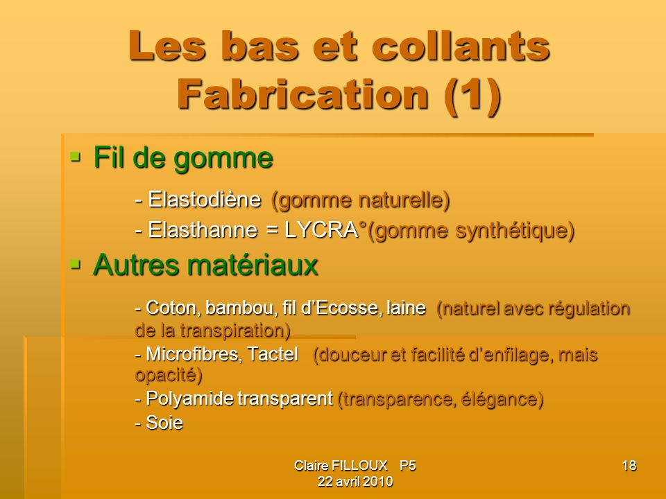 Les bas et collants Fabrication (1)