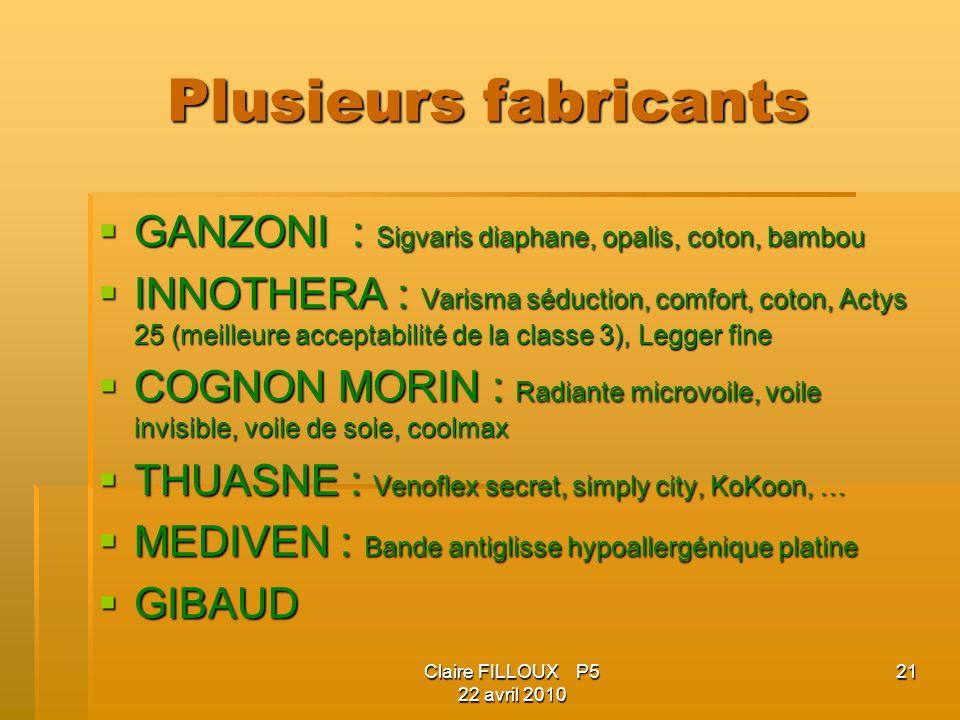 Plusieurs fabricants GANZONI : Sigvaris diaphane, opalis, coton, bambou.
