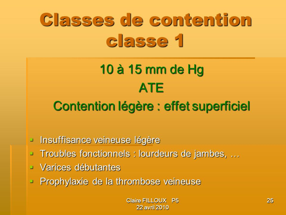 Classes de contention classe 1