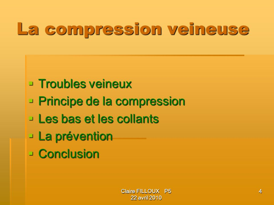 La compression veineuse