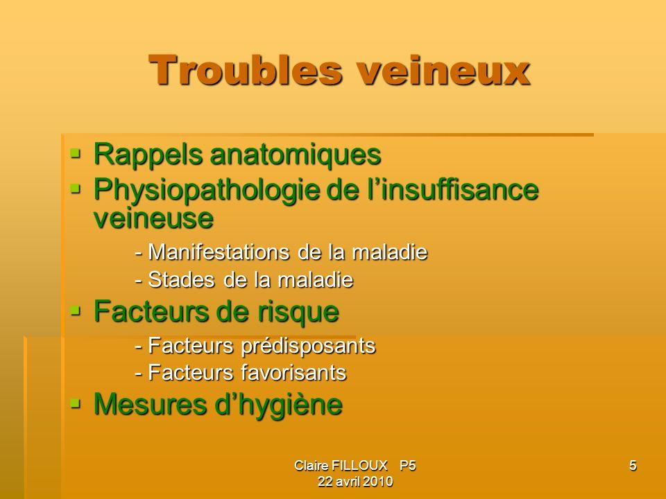 Troubles veineux Rappels anatomiques