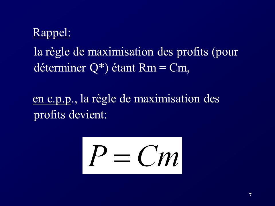 Rappel: la règle de maximisation des profits (pour déterminer Q*) étant Rm = Cm, en c.p.p., la règle de maximisation des profits devient: