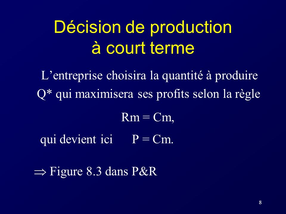 Décision de production à court terme