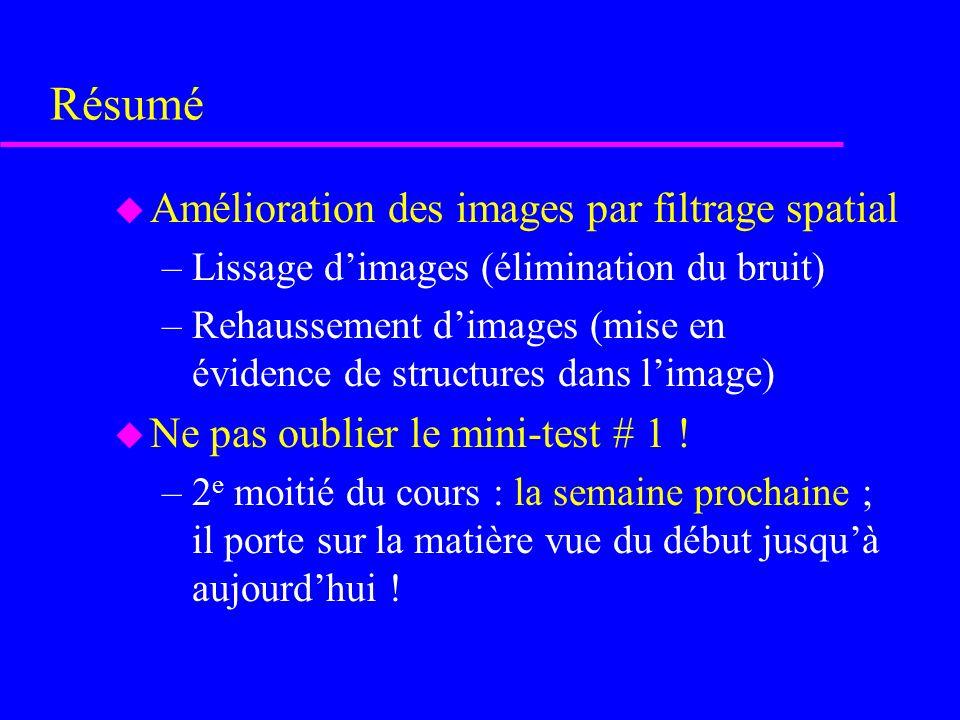 Résumé Amélioration des images par filtrage spatial