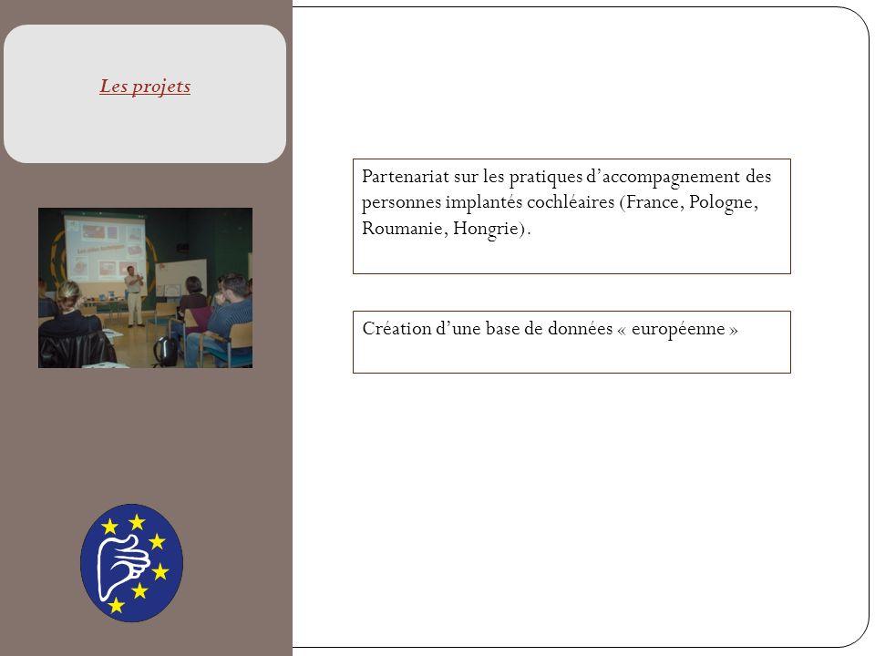 Les projets Partenariat sur les pratiques d'accompagnement des personnes implantés cochléaires (France, Pologne, Roumanie, Hongrie).