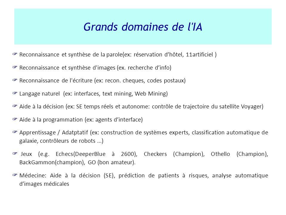 Grands domaines de l IA Reconnaissance et synthèse de la parole(ex: réservation d'hôtel, 11artificiel )