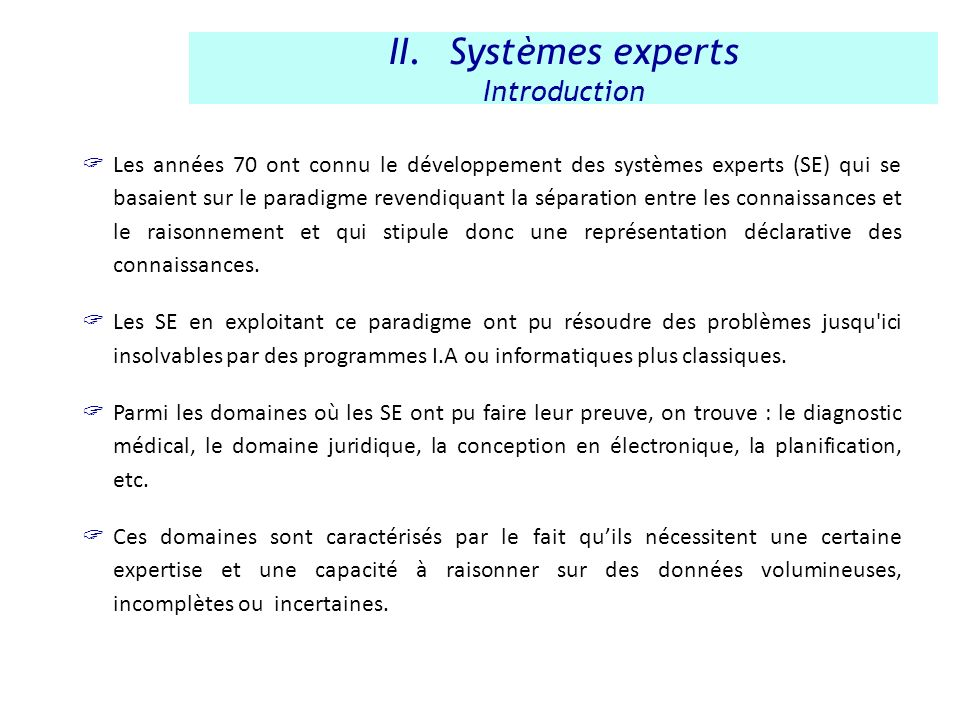 Systèmes experts Introduction