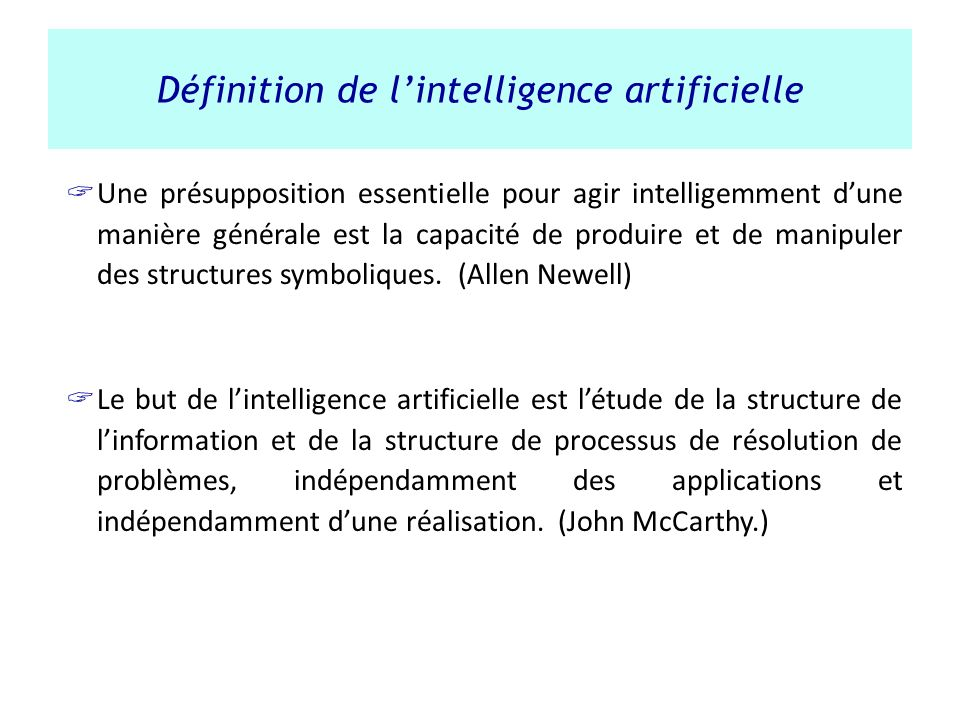 Définition de l'intelligence artificielle