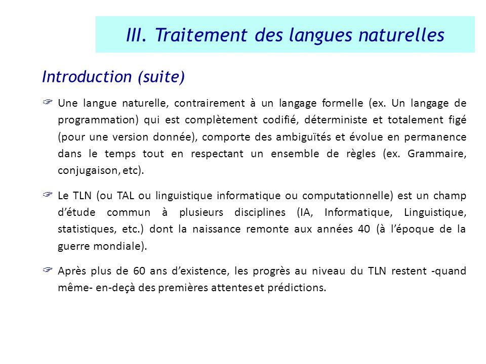 III. Traitement des langues naturelles