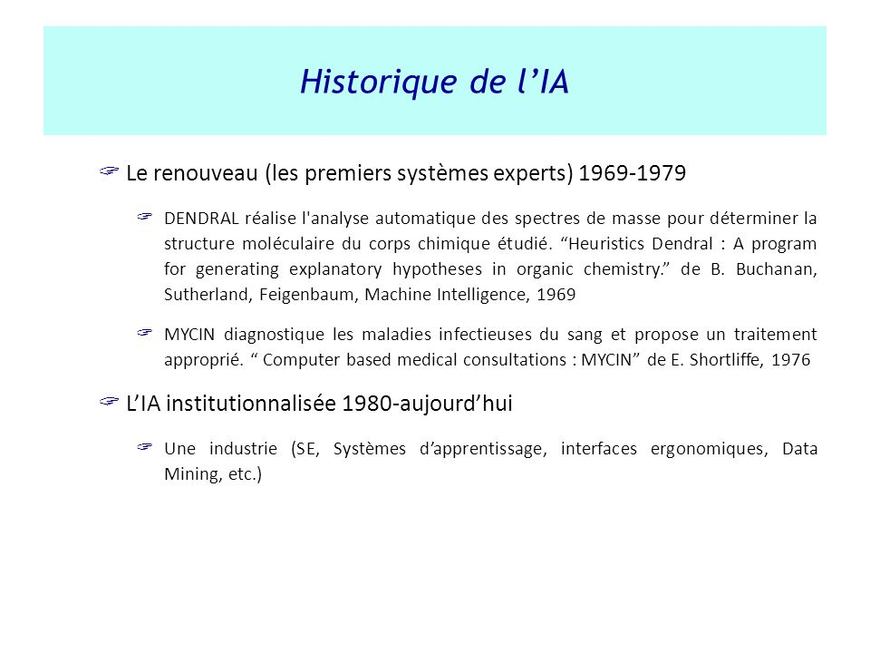 Historique de l'IA Le renouveau (les premiers systèmes experts) 1969-1979.