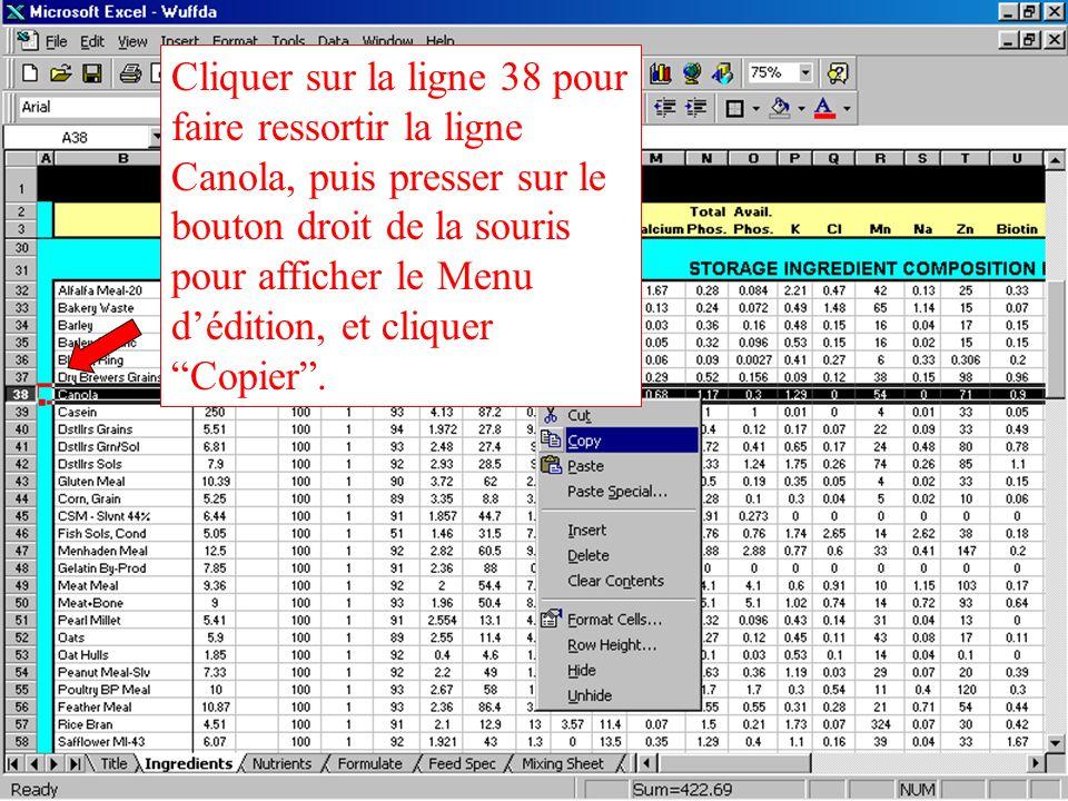 Cliquer sur la ligne 38 pour faire ressortir la ligne Canola, puis presser sur le bouton droit de la souris pour afficher le Menu d'édition, et cliquer Copier .