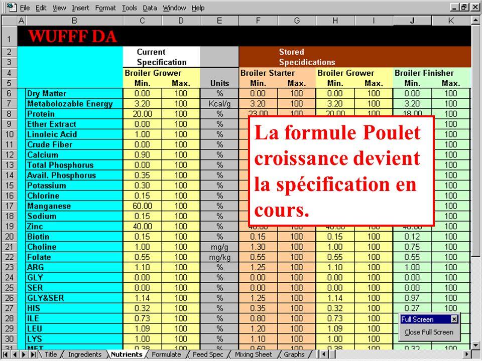 La formule Poulet croissance devient la spécification en cours.