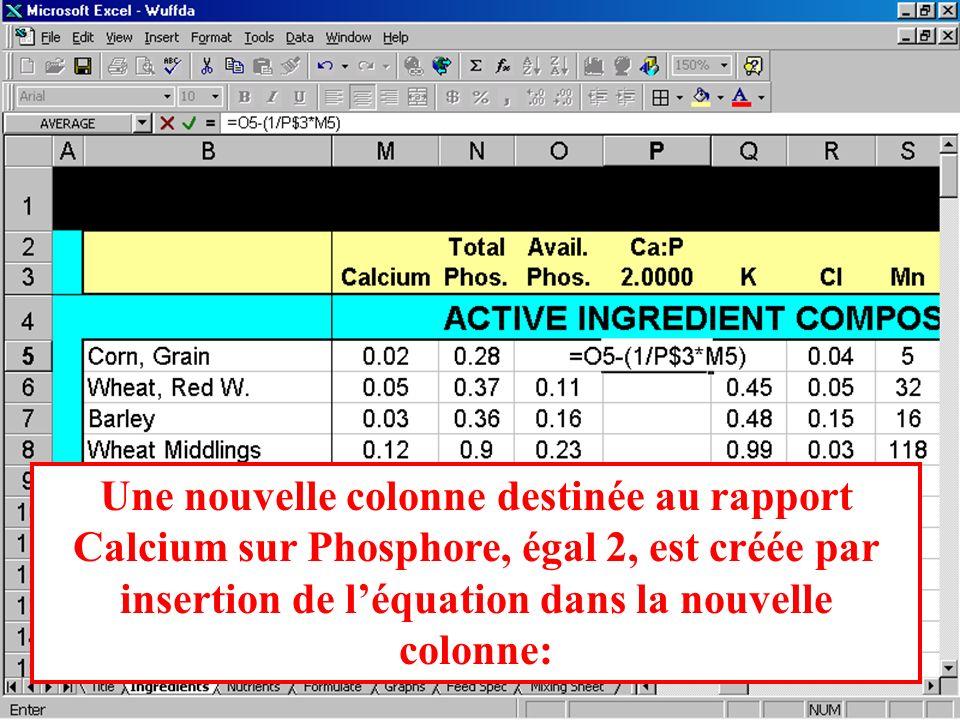 Une nouvelle colonne destinée au rapport Calcium sur Phosphore, égal 2, est créée par insertion de l'équation dans la nouvelle colonne: