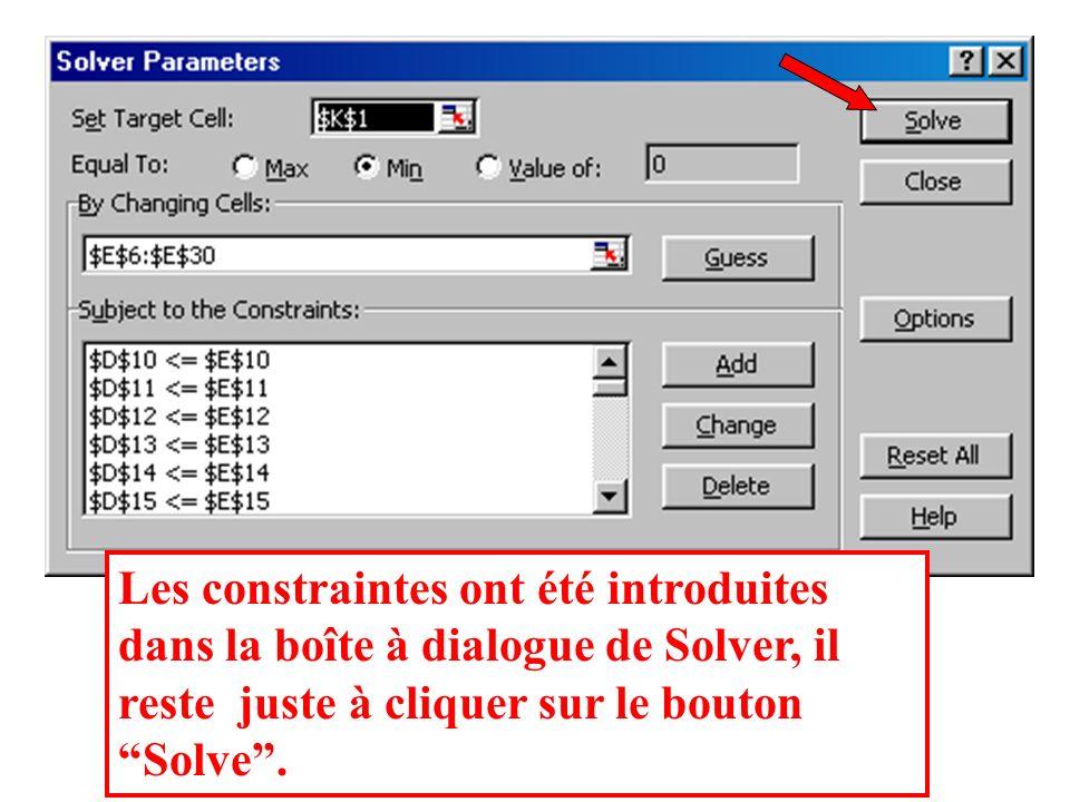 Les constraintes ont été introduites dans la boîte à dialogue de Solver, il reste juste à cliquer sur le bouton Solve .