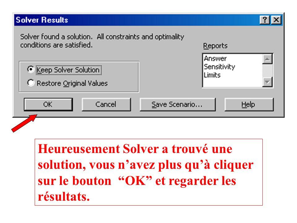 Heureusement Solver a trouvé une solution, vous n'avez plus qu'à cliquer sur le bouton OK et regarder les résultats.
