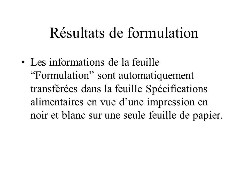 Résultats de formulation