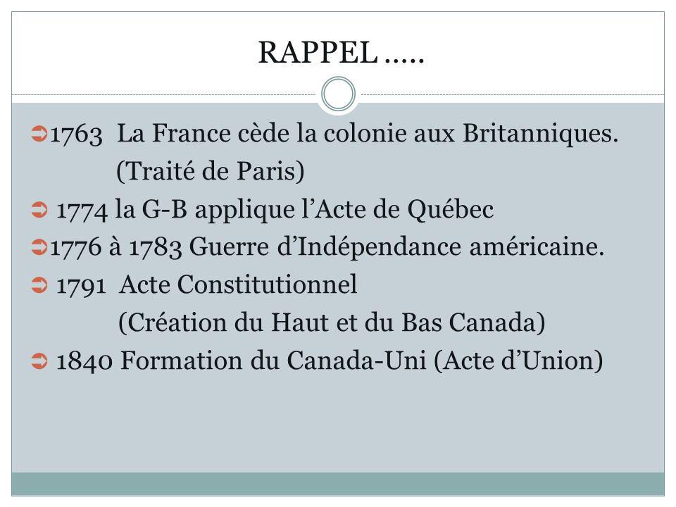 RAPPEL ….. 1763 La France cède la colonie aux Britanniques.