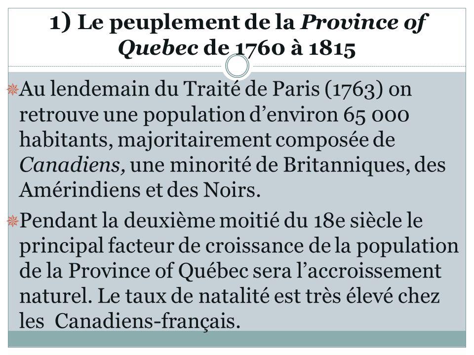 1) Le peuplement de la Province of Quebec de 1760 à 1815
