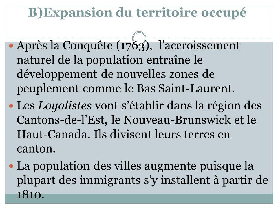 B)Expansion du territoire occupé