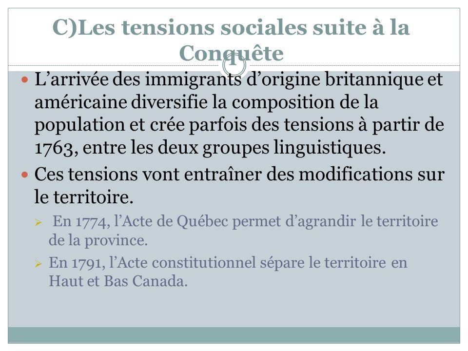 C)Les tensions sociales suite à la Conquête
