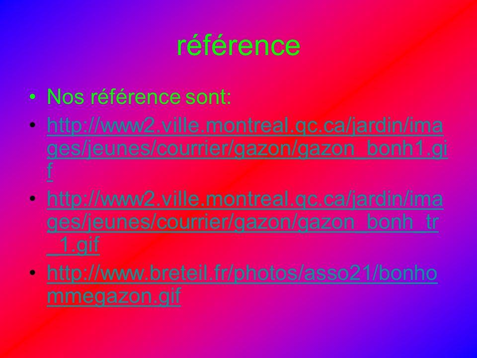 référence Nos référence sont: