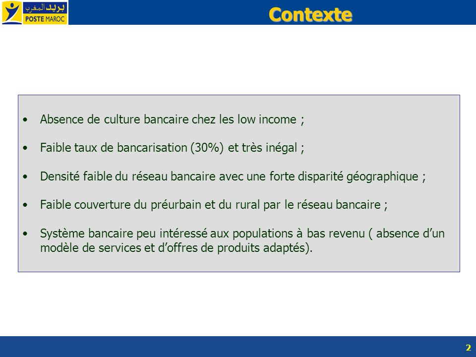 Contexte Absence de culture bancaire chez les low income ;