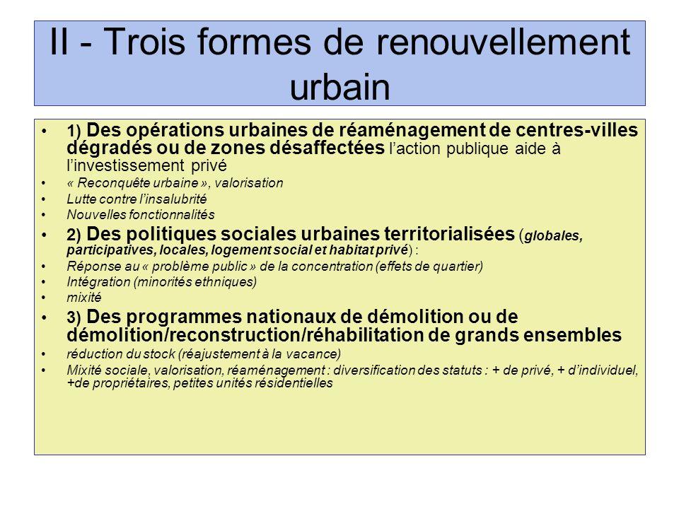 II - Trois formes de renouvellement urbain