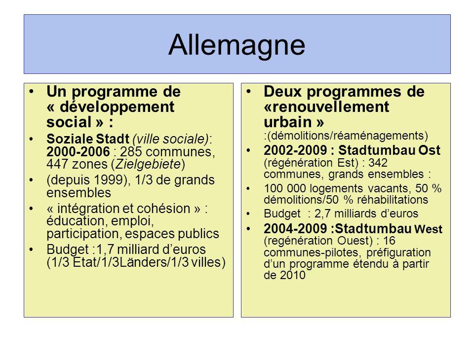 Allemagne Un programme de « développement social » :