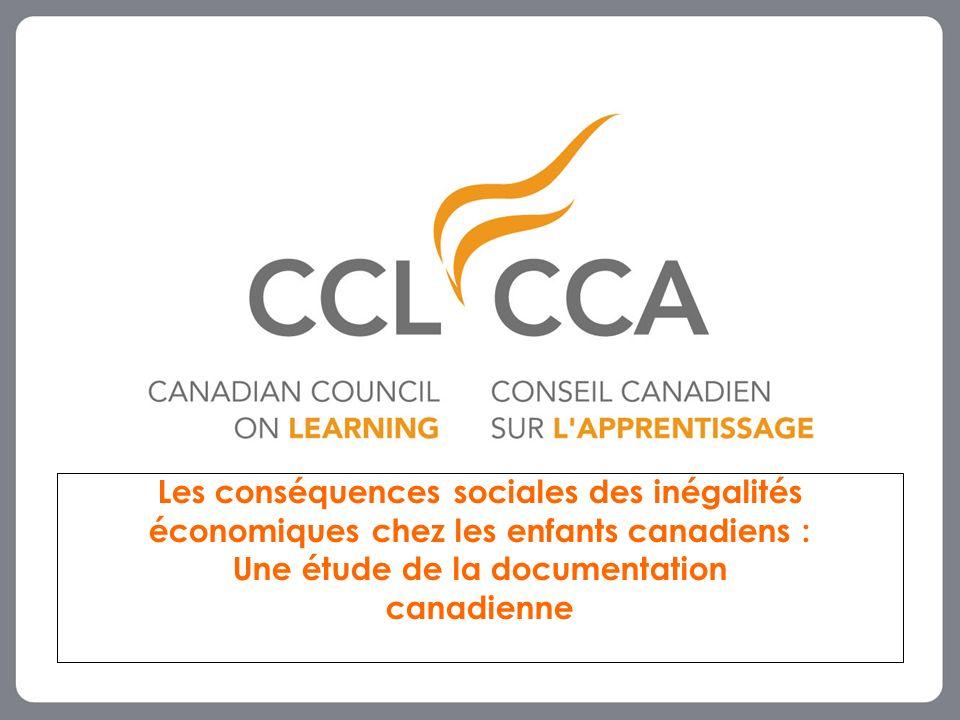 Les conséquences sociales des inégalités économiques chez les enfants canadiens : Une étude de la documentation canadienne