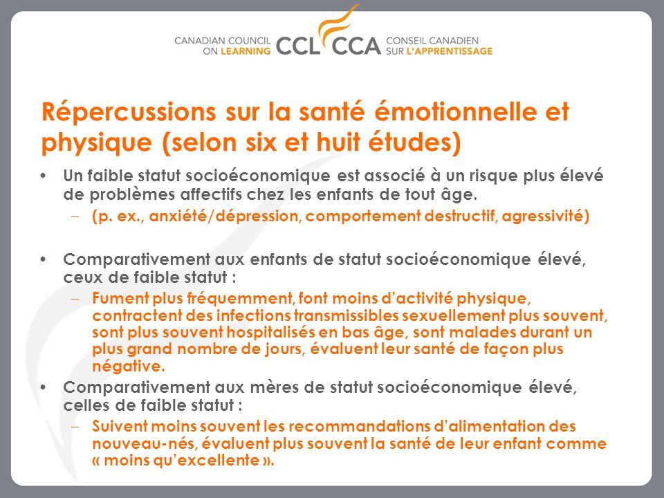Répercussions sur la santé émotionnelle et physique (selon six et huit études)