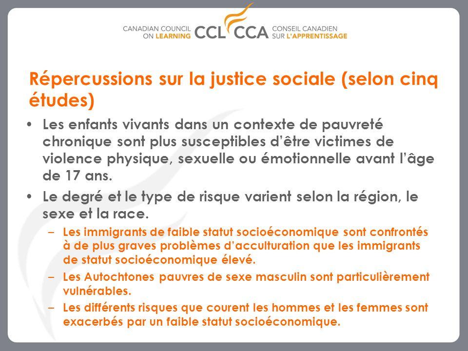 Répercussions sur la justice sociale (selon cinq études)