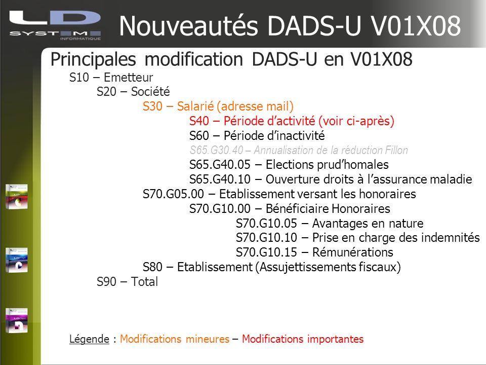 Nouveautés DADS-U V01X08 Principales modification DADS-U en V01X08