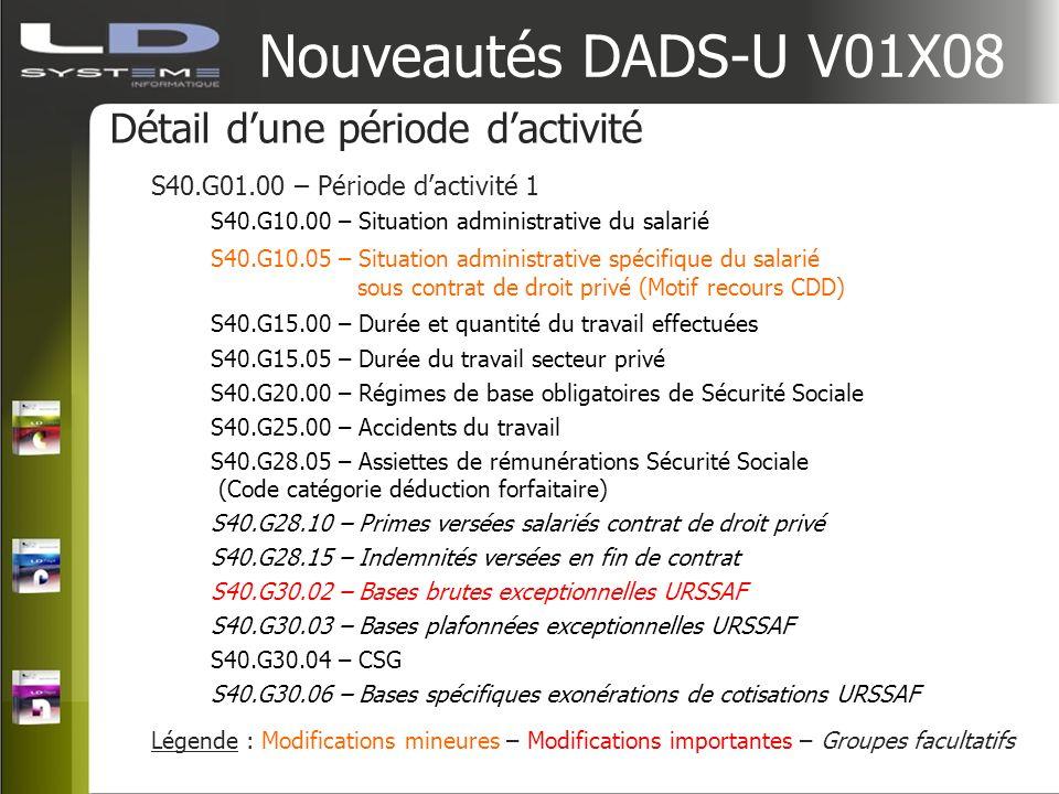Nouveautés DADS-U V01X08 Détail d'une période d'activité