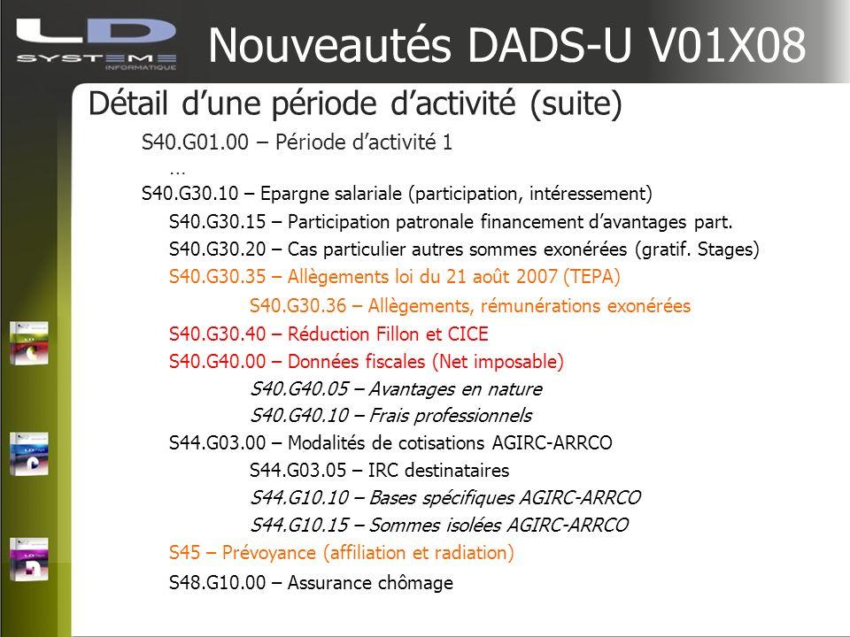 Nouveautés DADS-U V01X08 Détail d'une période d'activité (suite)