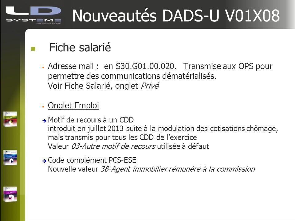 Nouveautés DADS-U V01X08 Fiche salarié