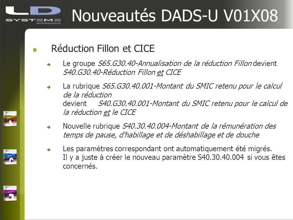 Nouveautés DADS-U V01X08 Réduction Fillon et CICE