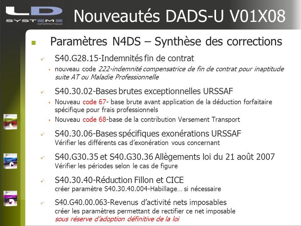 Nouveautés DADS-U V01X08 Paramètres N4DS – Synthèse des corrections