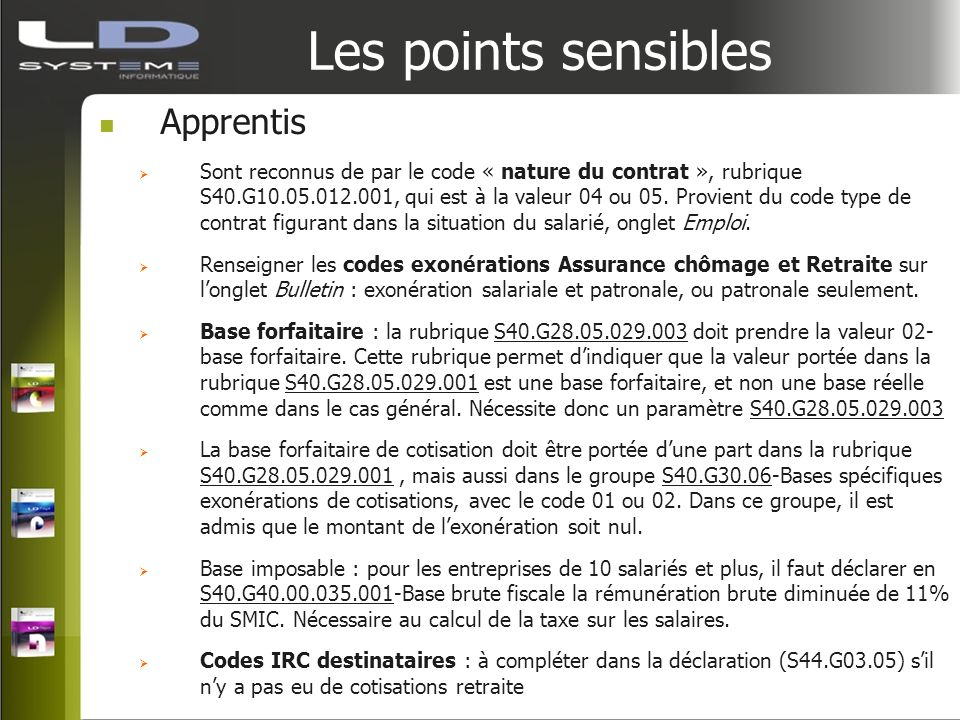 Les points sensibles Apprentis