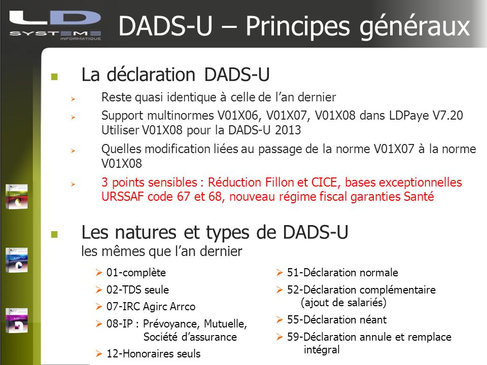 DADS-U – Principes généraux