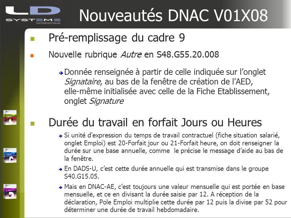 Nouveautés DNAC V01X08 Pré-remplissage du cadre 9