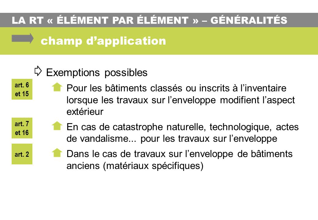 champ d'application Exemptions possibles