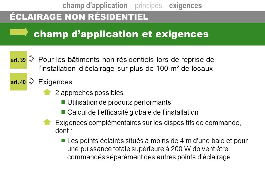 champ d'application et exigences